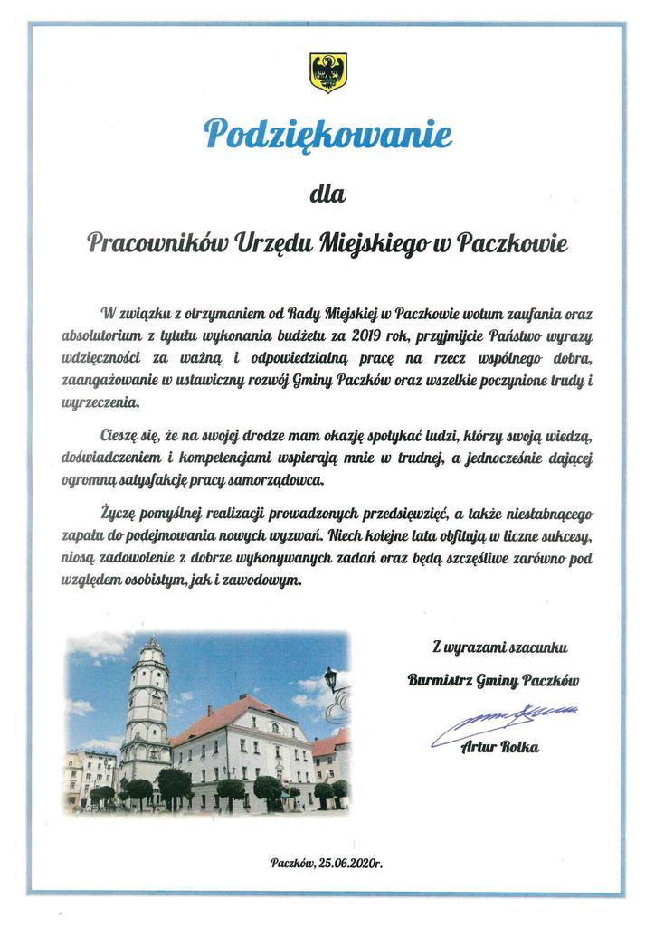 Podziękowanie dla Pracowników Urzędu Miejskiego w Paczkowie.jpeg
