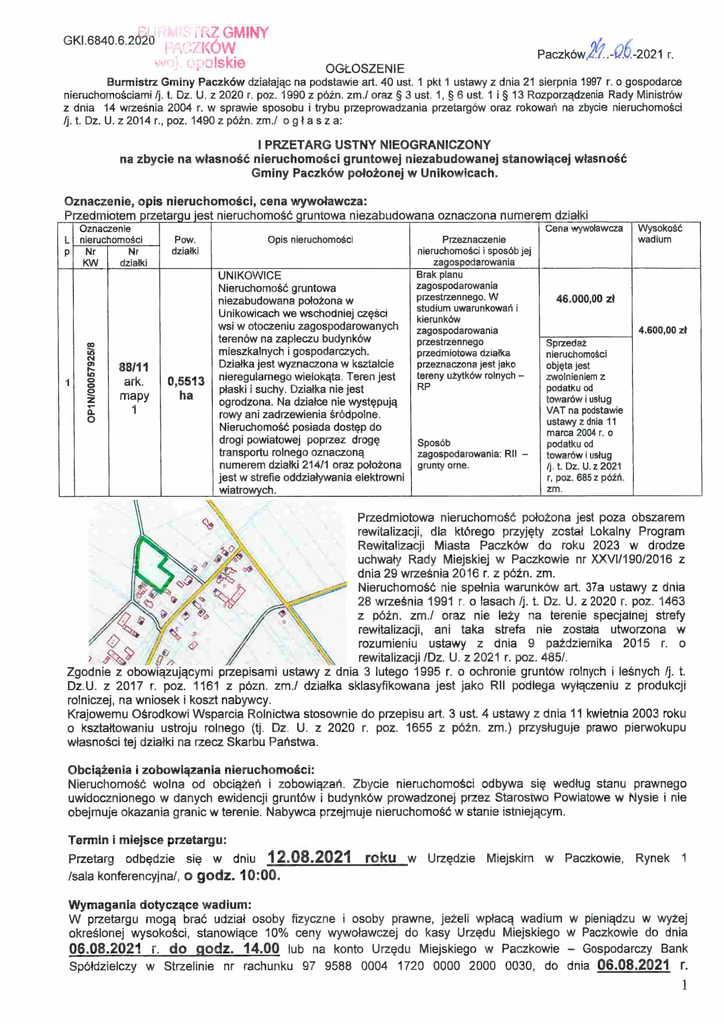 ogłoszenie o I przetargu Unikowice-1.jpeg